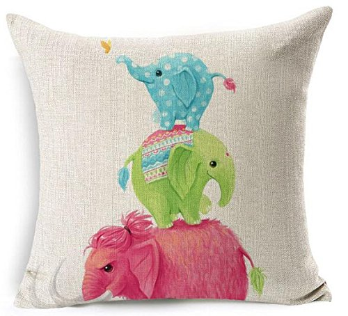 Hand-painted Cartoon Watercolor Adorable Blue Green Pink Three Baby Indian Elephants Take The Ladder Cotton Linen Decorative Throw Pillow Case Cushion Cover Square 18
