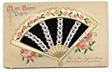 """""""Many Happy Days"""" Greeting with Real Inlaid Fabric Fan Antique Postcard N5224"""