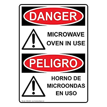 ComplianceSigns Vertical Aluminum OSHA DANGER Microwave Oven In Use - Horno De Microondas En Uso Sign