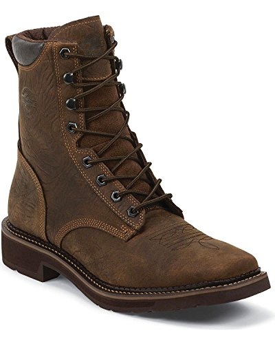 Justin Mens Barnwood Leather Work Boots Comp Toe Lace Up