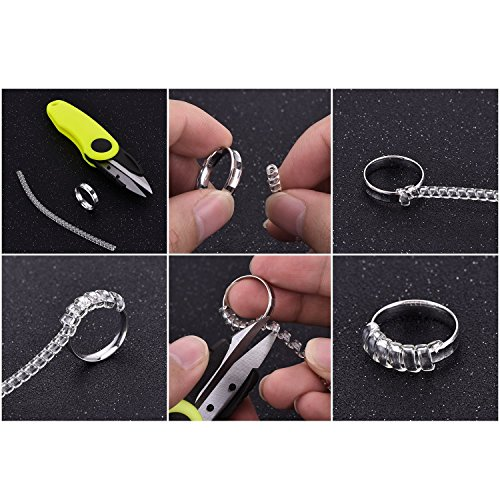 Stark 12 Pieces Ring Size Adjuster Jewelry Guard with Scissors for All Loose Rings