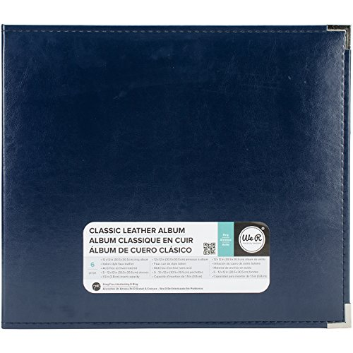 American Crafts 12 x 12-inch Classic Leather 3-Ring Album by We R Memory Keepers | Navy, Includes 5 Page Protectors 3 Ring Memory Albums