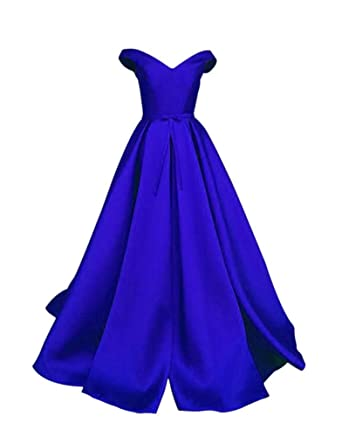 Drasawee Womens Off Shoulder Satin Wedding Party Prom Dress Elegant Bowknot Maxi Formal Evening Gowns 3