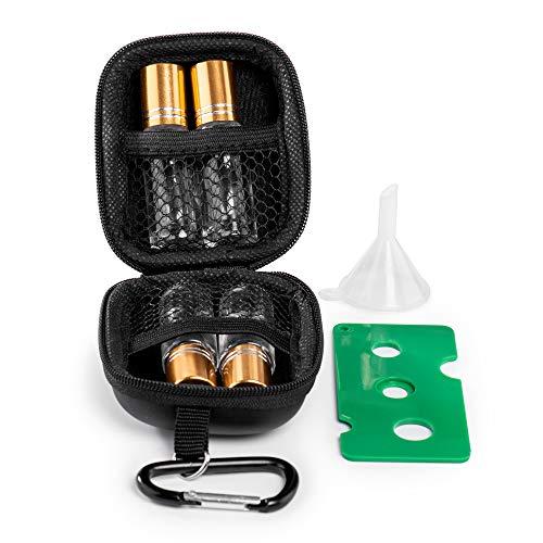 Katloo 5ml Roller Bottle Case with 4 Clear Glass Essential Oil Bottles for Travel Mini Storage Bag EVA Portable Carrying Case Include Opener Funnel (Black Case, Golden Lids)
