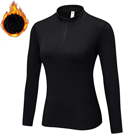 Women Compression Tops Zip Athletic Gym Running Yoga Long sleeve T-shirt Thermal
