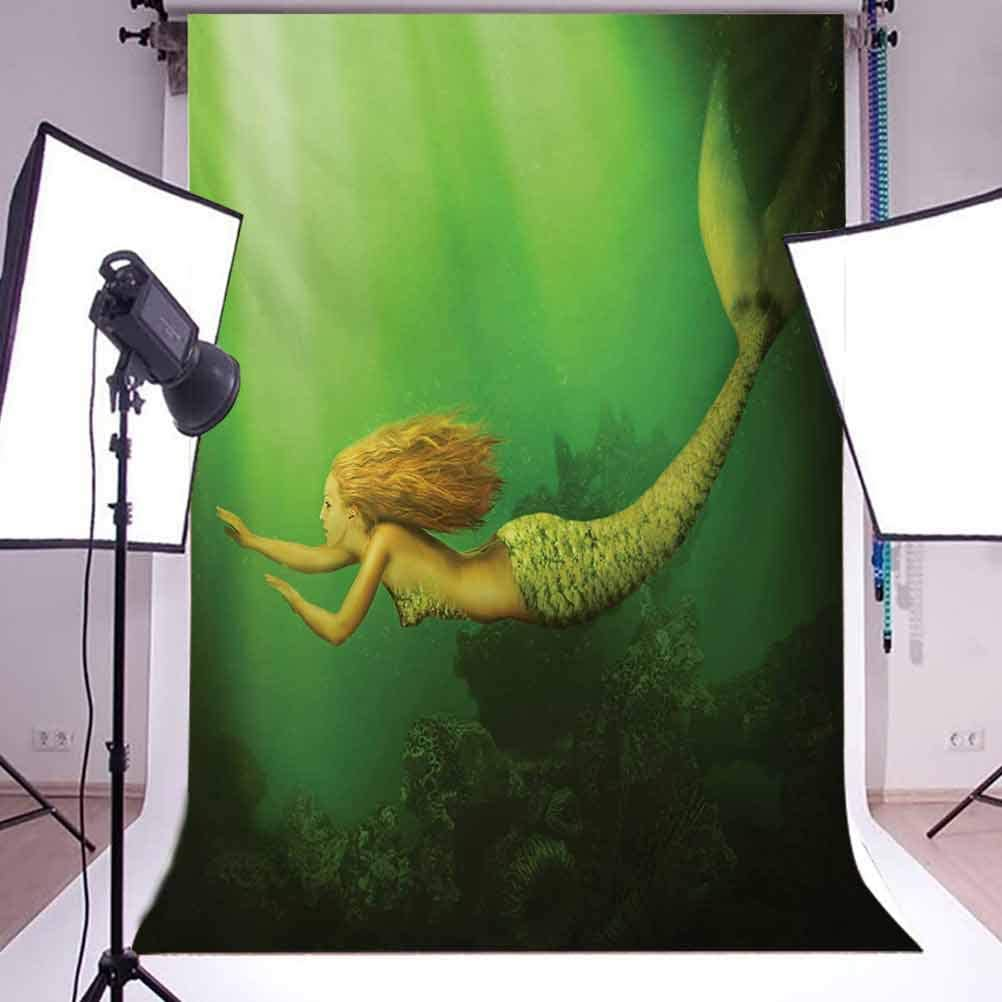 Mermaid 10x12 FT Backdrop Photographers,Mermaid with Fish Tail Swimming in The Deep Sea Fantasy World Artwork Background for Baby Birthday Party Wedding Vinyl Studio Props Photography