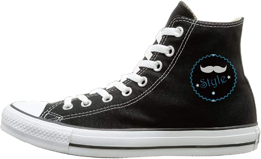 Buecoutes White Beard Canvas Shoes High Top Design Black Sneakers Unisex Style