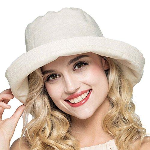 Women's Cotton Fold-Up Big Brim Hat with Bow Beach Hat Bucket Hat Boonie Fishing Hat (Beige) (Decorated Bucket)