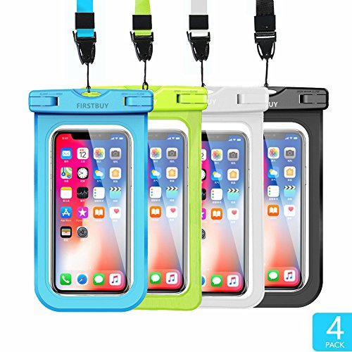Firstbuy Universal Waterproof Case Waterproof Phone Pouch IPX8 Dry Bag For iPhone 8/7/7 Plus/6S/6/6S Plus/SE/5S, Samsung Galaxy S8/S8 Plus/Note 8 6 5 4, Google Pixel 2 HTC LG Sony MOTO - 4 Pack by Firstbuy