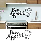 French Bon Appetit Quote Vinyl Wall Stickers for Home Kitchen Window Decals Art