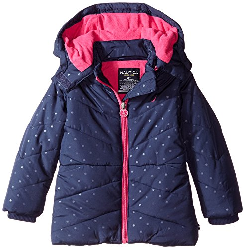 Nautica Little Girls' Toddler Printed Puffer Coat with Removable Hood, Navy, 4T