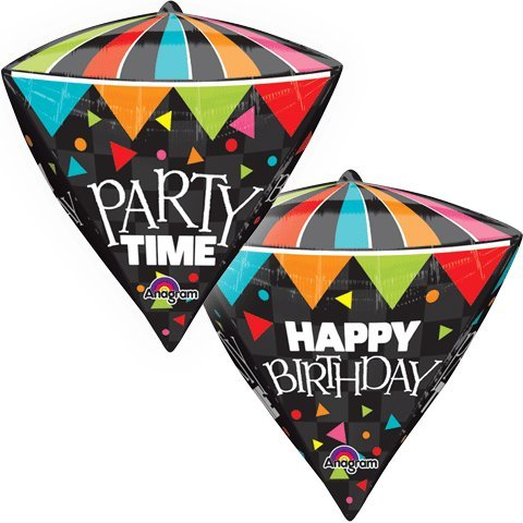 Mayflower Distributing 63428 17 IN. HBD PARTY TIME CONE BALLOON -PKG