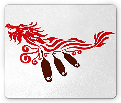 Summer-M Oar Mouse Pad, Dragon Boat Paddles Rowing in The Waves Oriental Style Symbolic Energy Illustration, Standard Size Rectangle Non-Slip Rubber Mousepad, Red Brown
