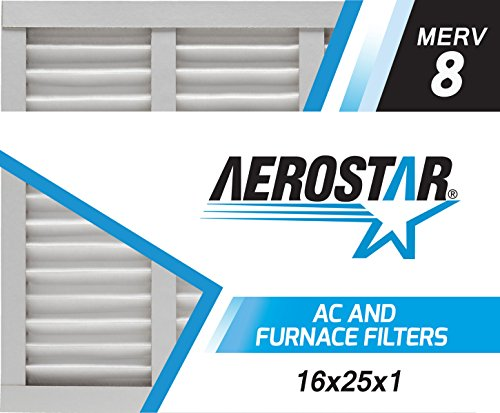 Aerostar 16x25x1 MERV 8, Pleated Air Filter, 16x25x1, Box of 6, Made in the USA