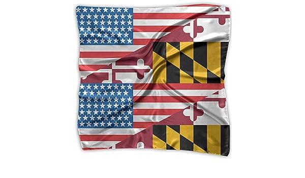 American Flag Maryland Flag Men Women Silky Scarf Head Wraps Bandana Scarves Set