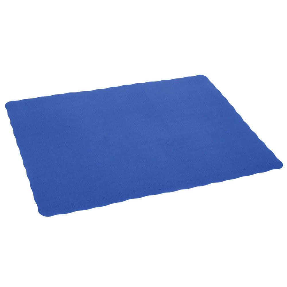 Disposable 14 x 10'' Plain Navy Blue Paper Placemat with Decorative Wavy Scalloped Edge