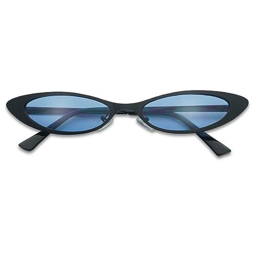 7edfb6ef19188 Small Narrow Thin Flat Metal Frame Oval 90 s Vintage Cat Eye Slim Sun  Glasses (Black