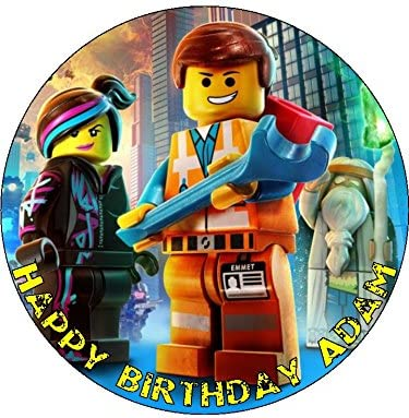 Surprising Lego Movie 7 5 Round Personalised Birthday Cake Topper Printed On Funny Birthday Cards Online Overcheapnameinfo