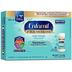 Enfamil Newborn PREMIUM Non-GMO Infant Formula 20 Calorie, Ready to Use, 2 Fluid Ounce Nursette Bottle, 6 Count (Pack of 4)