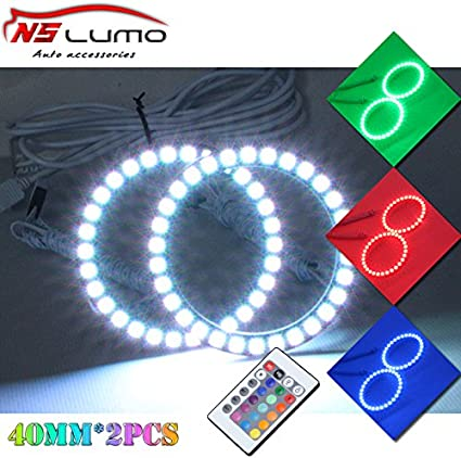 NSLUMO DC12V 50mm RGB LED Car Angel Eyes RGB Halo Ring with Remote Control Color Changing