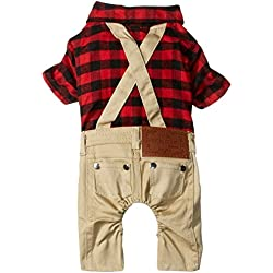 SMALLLEE_LUCKY_STORE Pet Clothes for Small Dog Cat Red Plaid Shirts Sweater with Khaki Overalls Pants Jumpsuit Outfits L