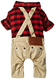 #5: SMALLLEE_LUCKY_STORE Pet Clothes for Small Dog Cat Red Plaid Shirts Sweater with Khaki Overalls Pants Jumpsuit Outfits M