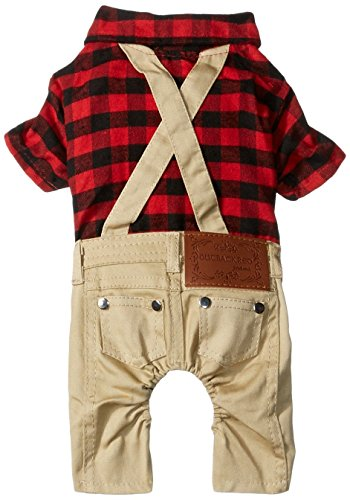 SMALLLEE_LUCKY_STORE Pet Clothes for Small Dog Cat Red Plaid Shirts Sweater with Khaki Overalls Pants Jumpsuit Outfits XL -