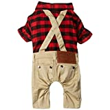 SMALLLEE_LUCKY_STORE Pet Clothes for Small Dog Cat Red Plaid Shirts Sweater with Khaki Overalls Pants Jumpsuit Outfits M