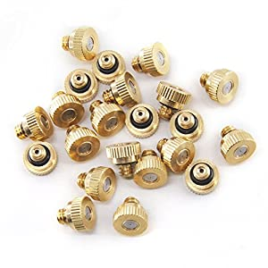 """Aootech Brass Misting Nozzles For Outdoor Cooling System 22 pcs,0.012"""" Orifice (0.3 mm) 10/24 UNC By"""