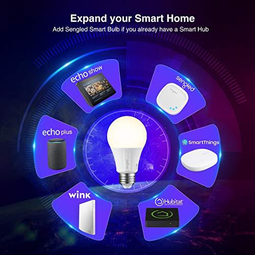Sengled Smart Light Bulb, Smart Bulbs that work with Alexa, Google Home (Smart Hub Required), Smart Bulb A19 Alexa Light Bulbs, 800LM Soft White (2700K), A19 Dimmable, 9W (60W Equivalent), 8 Pack