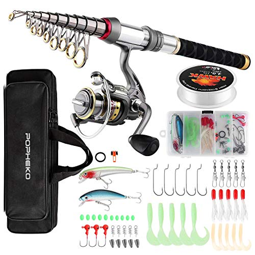 SupsShop Fishing Rod Reel Combo Full Kit Telescopic Fishing Pole Set Spinning Reel Line Lures Hooks and Fishing Carrier Bag Saltwater Freshwater Fishing Gear for Kids Adults Professional