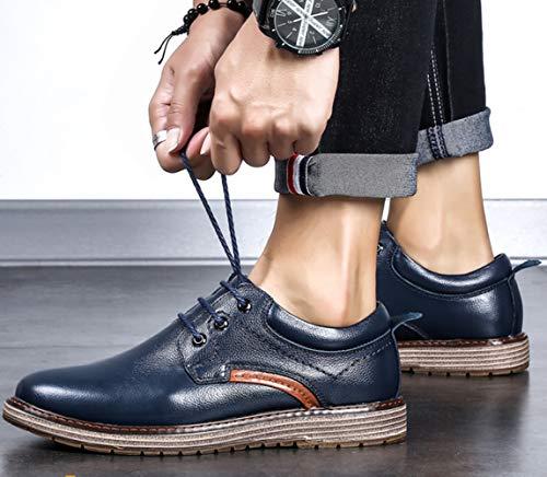 Comode Scarpe Pelle Casual Da E Lavoro Traspiranti Blue Da Scarpe Britanniche In Uomo Stringate XqwxEWv4Z