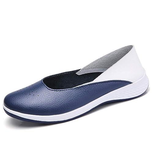 Zapatos del mocasín Mocasines Damas Azul Negro Mocasines Mujer resbalón en Casual Pisos Barco de Zapatos de Trabajo: Amazon.es: Zapatos y complementos