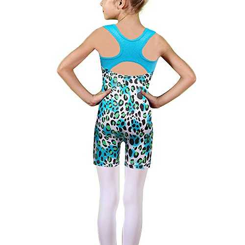 TFJH E One-Piece Sparkle Dancing Gymnastics Biketard For Little Girl Blue Leopard 140