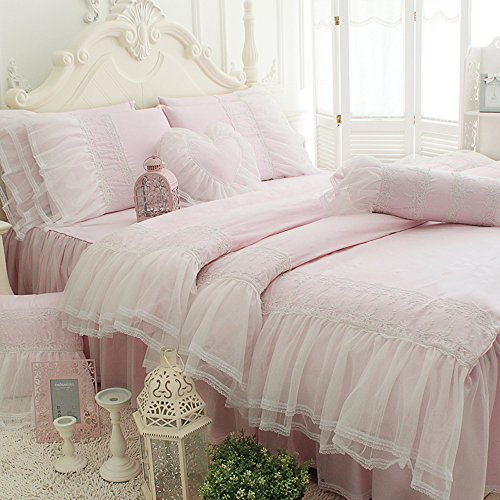 TideTex 3pc European Rural Style Bedding Sets 100%Pure Cotton Bed Skirt Lace Flouncing Duvet Cover Girls Fairy Bedding Sets Romantic Light Pink Princess Bedding Sets (Twin, Light (Fairy Iron)