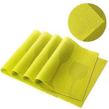 U'artlines TOP Quality Rectangle PVC Dining Room Placemats for Table Heat Insulation Stain-resistant Woven Vinyl Kitchen Placemat Simple Style Eat Mat Vinyl Placemats (4, Grass green)