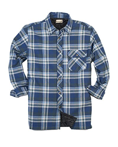 Backpacker Men's Flannel/Quilt Lined Shirt Jacket, Blue/Green, X-Large