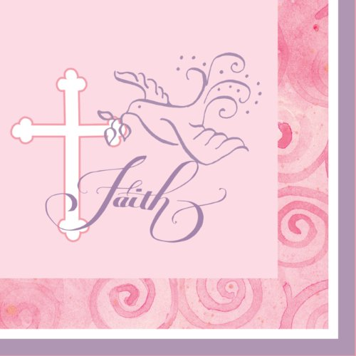 Christening Lunch Napkins - Creative Converting Faithful Dove Cross Lunch Napkins, Pink, 16 Count