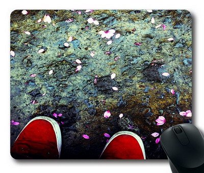 Enjoy happy life ouse Mat,The mountain is full of petals Office Computer Mouse Pad (220mm*180mm*3mm)