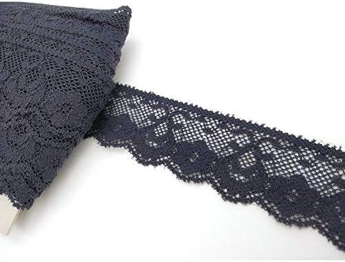 TOMASELLI MERCERIA Boord van elastische kant rammelbloem hoogte 3 cmblauw