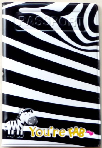 Zebra print black & white Passport Cover ~ Travel Accessory protects passport from dents