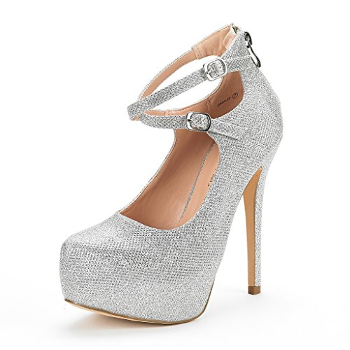 Dream Pairs Women's Swan-20 Silver Glitter High Heel Platform Pump Shoes - 8 M US Glitter High Heel Platform Shoes