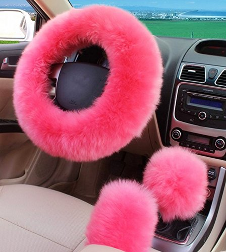 Amazon Moyishi Universal Pink Plush Wool Soft Steering Wheel Cover Guard Truck Car Accessory White Leopard Automotive