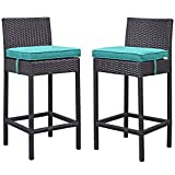 Modway Lift Bar Stool Outdoor Patio (Set of 2), Espresso Turquoise For Sale