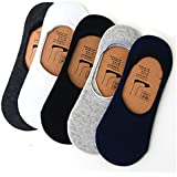 Fashion League Mercerised Cotton Socks For Men, Women, Boys & Girls No Show Socks with Anti Slip Silicon System Loafer Socks For Daily Use & Sports - Pack of 5 (D.Grey,Blue,black,L.Grey) - Invisible / Loafer Socks