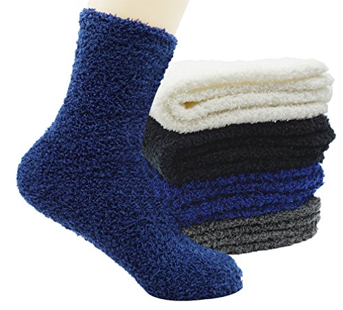 Unisex Fuzzy Microfiber Socks 4 Pack Thick Warm Comfort Crew Fashion Socks, Style 1 by Bienvenu (Image #5)