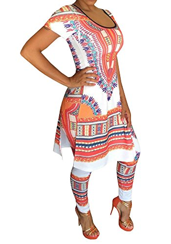 Women Casual African printed Two Pieces Pants Suits Outfit Crop Top Suits Ethnic (African Outfit)