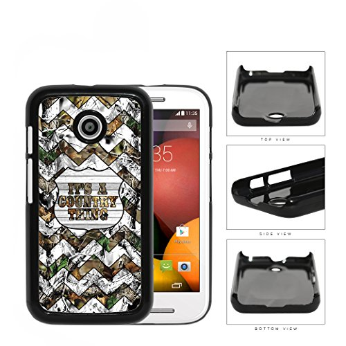 Its A Country Thing Quote WHITE Chevron Camo Oak Tree Motorola (Moto E) Hard Snap on Plastic Cell Phone Case Cover