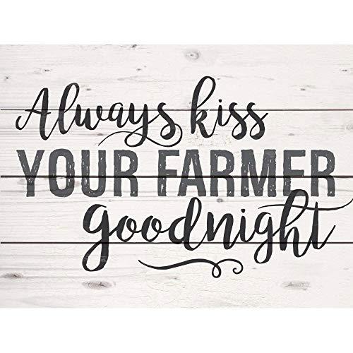P. Graham Dunn Kiss Your Farmer Cream 8 x 6 Pine Wood Slats Decorative Tabletop Pallet ()