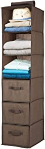 mDesign Long Soft Fabric Over Closet Rod Hanging Storage Organizer with 3 Shelves and 3 Drawers for Clothes, Leggings, Lingerie, T Shirts - Textured Print - Espresso Brown